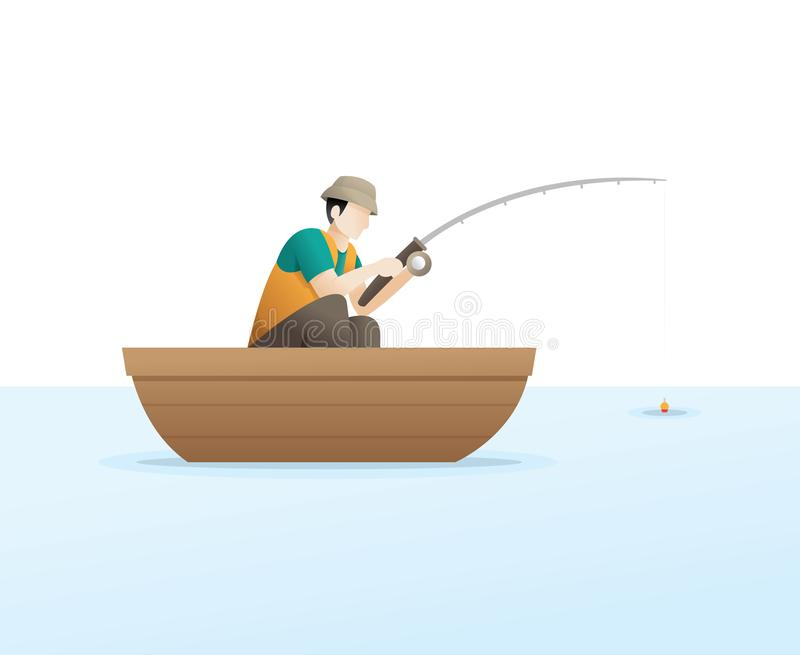 Fishing on the lake. Young man go fishing while sitting in a boat. Leisure and hobby catch fish illustration. Fishing conceptual vector illustration royalty free illustration