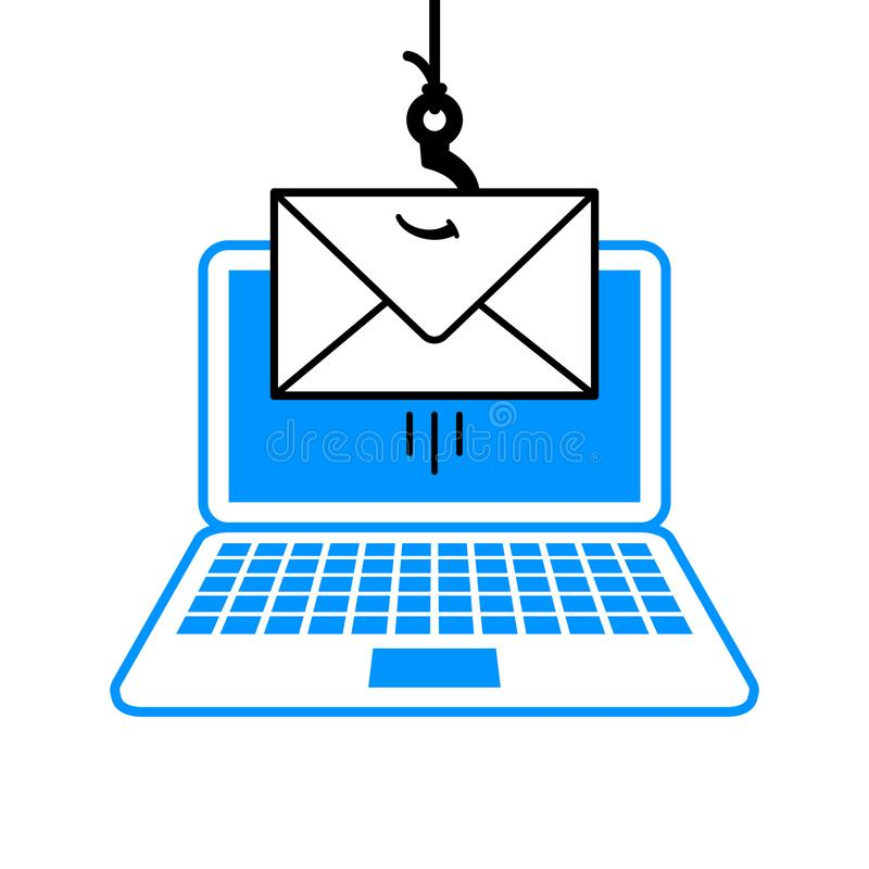 Fishing line, hook and envelope in a phishing scam. Cartoon fishing line, hook and envelope in a phishing scam concept dangling over an open laptop computer royalty free illustration