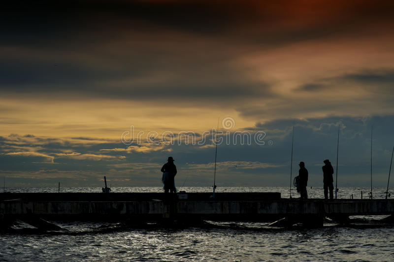 Fishing local on sea in Thailand royalty free stock images
