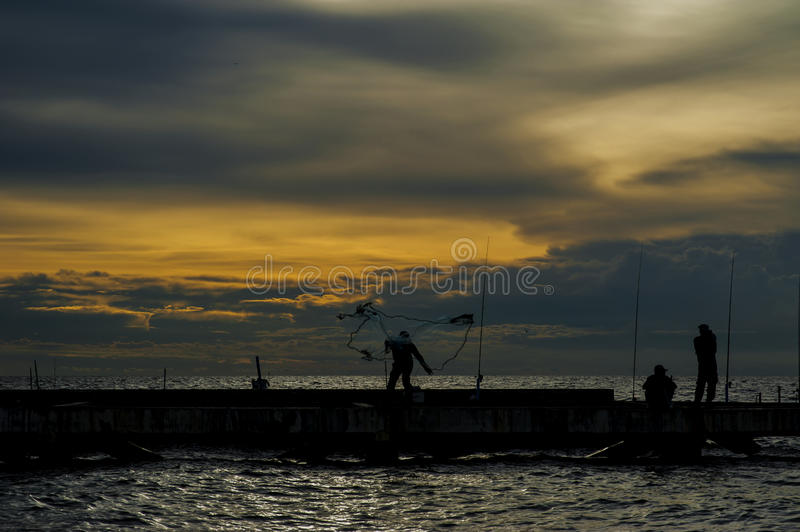 Fishing local on sea in Thailand stock photo