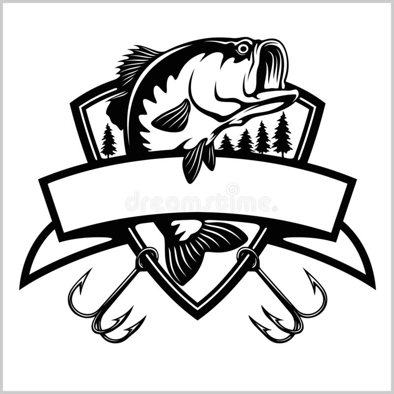Fishing logo. Bass fish with template club emblem. Fishing theme vector illustration. Isolated on white royalty free illustration
