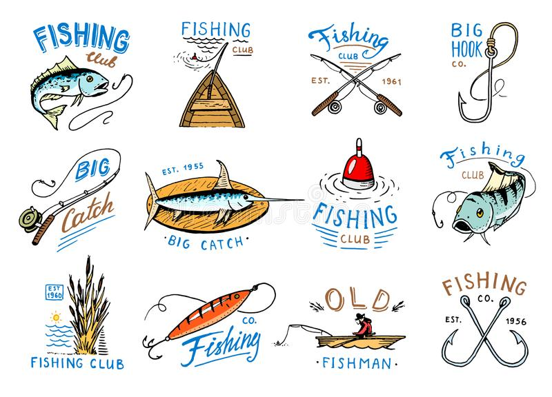 Fishing logo vector fishery logotype with fisherman in boat and emblem with catched fish on fishingrod illustration set royalty free illustration