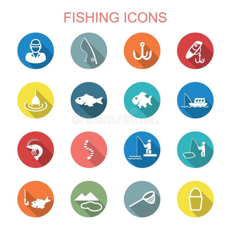 Fishing long shadow icons. Flat vector symbols royalty free illustration