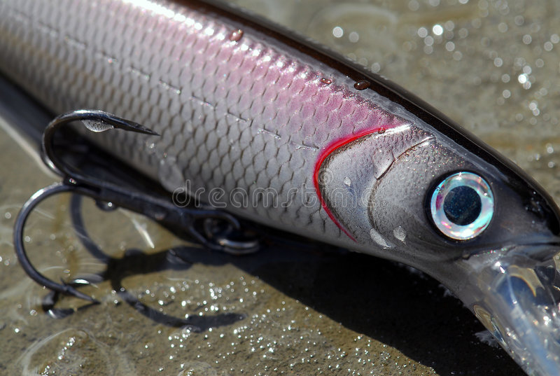 Fishing lure. Imitative fishing lure used to catch fish stock image