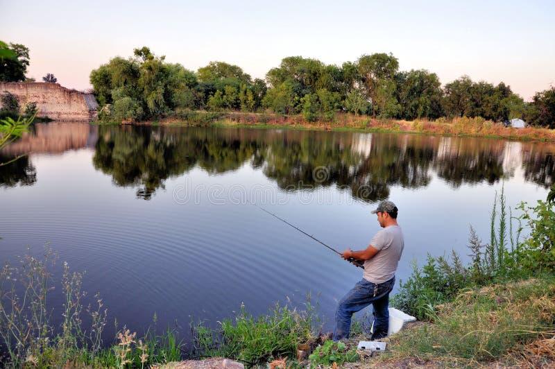 Fishing man stock photography