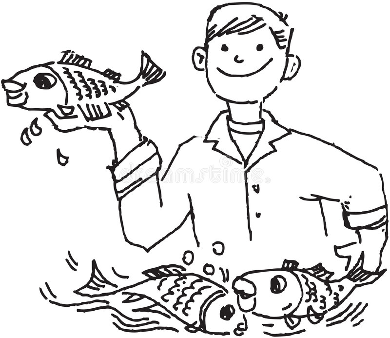 Fishing man holding a fish royalty free illustration
