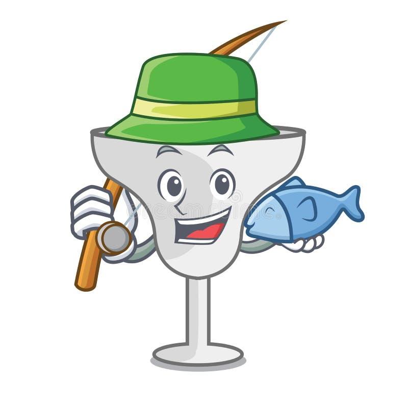 Fishing margarita glass mascot cartoon. Vector illustration stock illustration