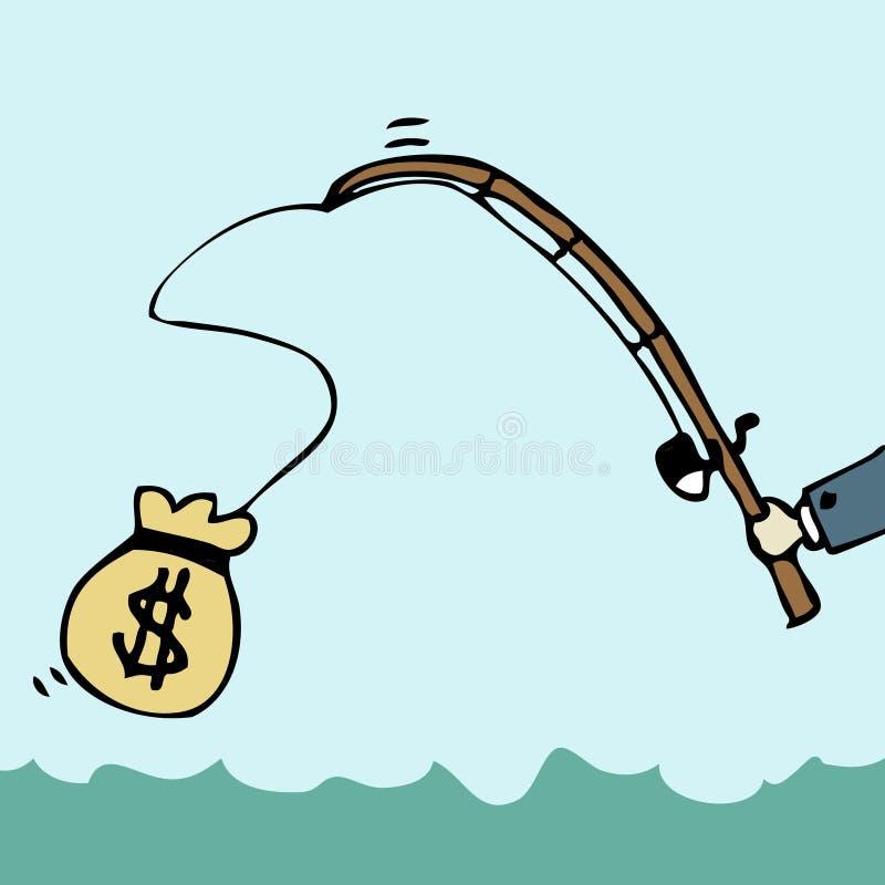 Fishing Money. Illustration of cartoon businessman fishing money bag royalty free illustration