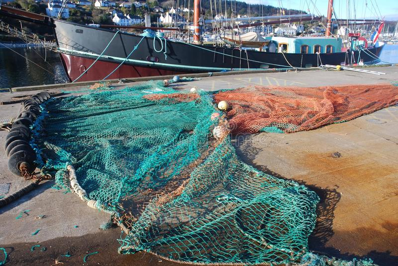 Fishing Net. Fishing net at quayside, drying in the sun royalty free stock photos