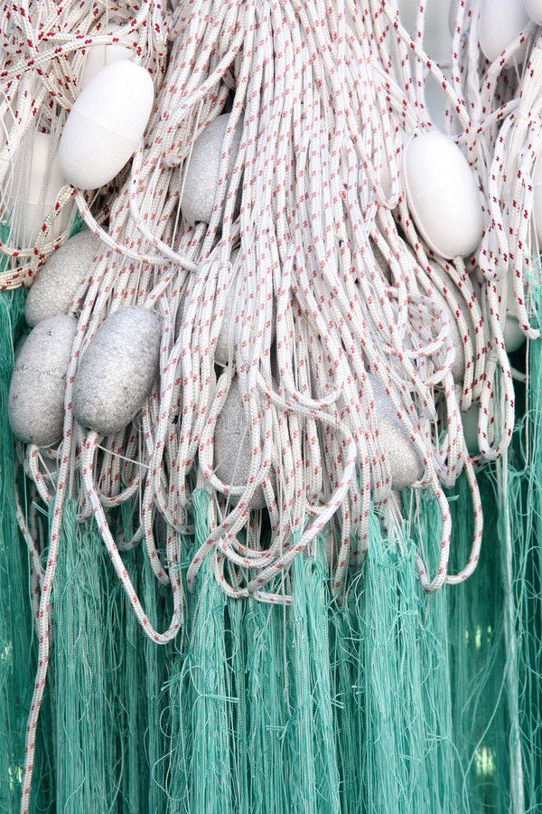 Fishing net. With floats in close up royalty free stock image
