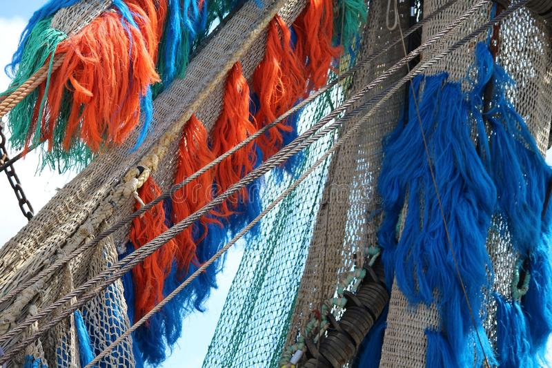 Fishing net on board royalty free stock photo