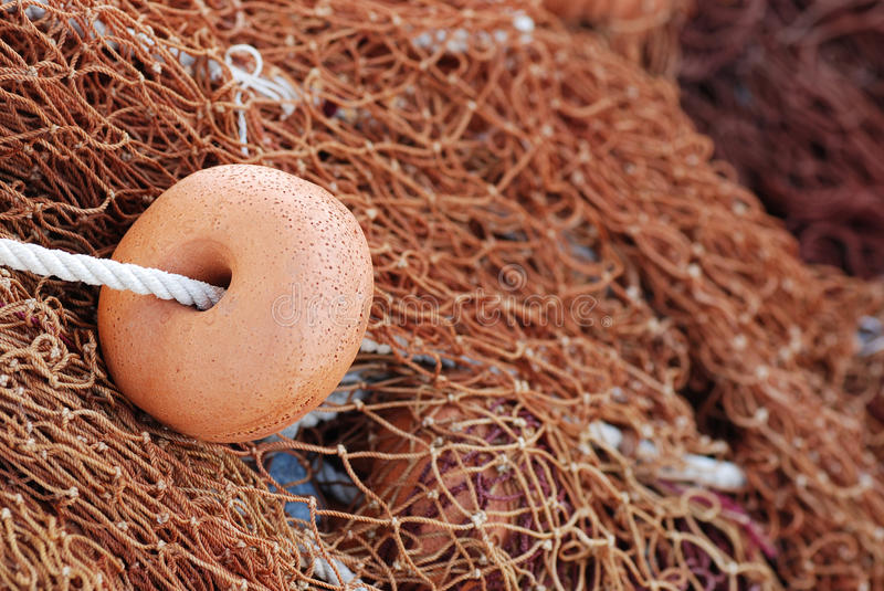 Download Fishing Net With Brown Floats Stock Image - Image: 26546513