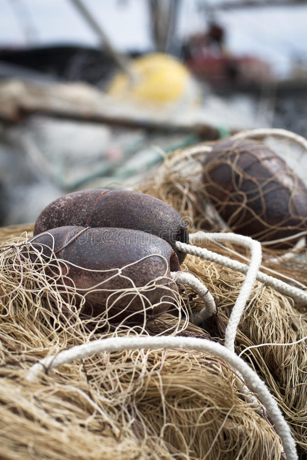 Fishing net and buoys royalty free stock photography