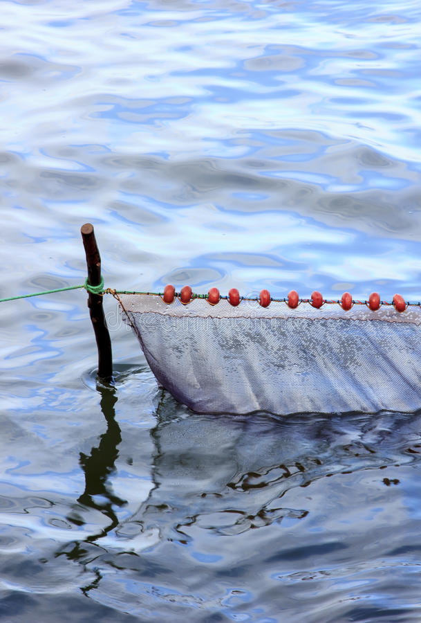 Fishing net. Empty fishing net in the water royalty free stock photography