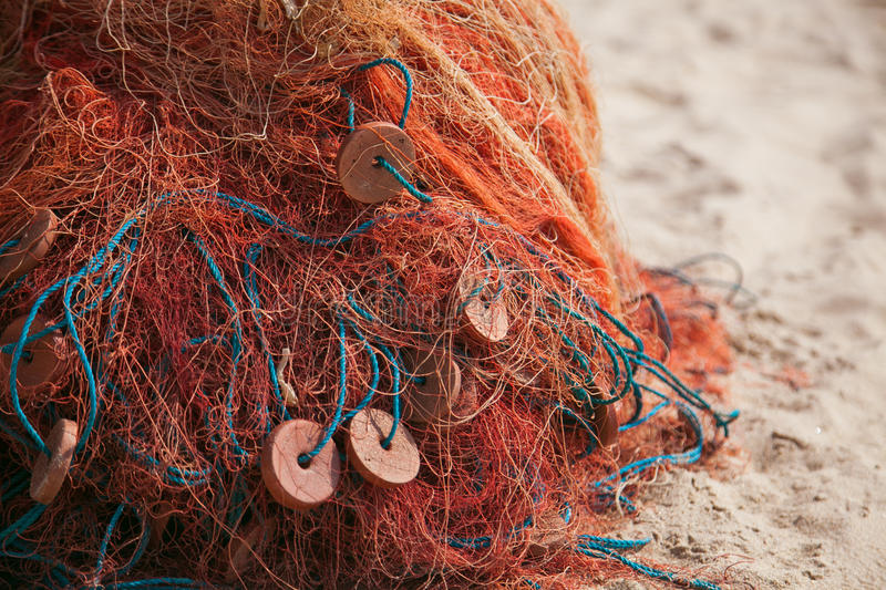 Fishing net. With equipment. India royalty free stock photo