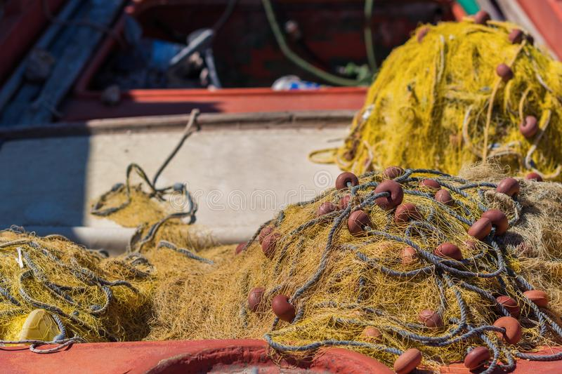 Fishing net in a fishing boat. royalty free stock images