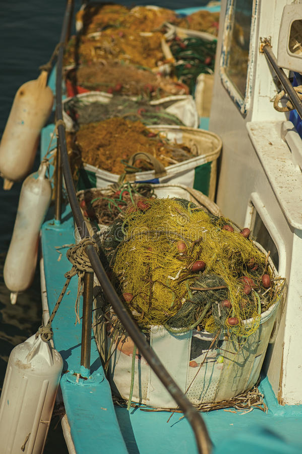 Fishing net in a fishing boat royalty free stock photos
