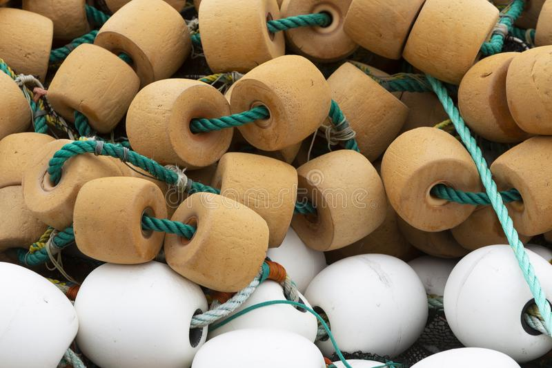 Fishing net floats. Or buoys used in the cod fishery in Newfoundland and Labrador, Canada royalty free stock photography
