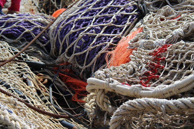 Fishing net in harbour stock photography