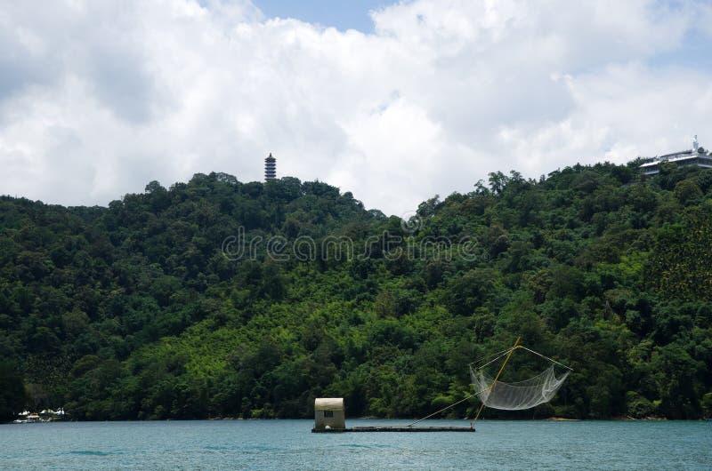 Fishing net raft at Sun Moon Lake. Taiwan stock photo