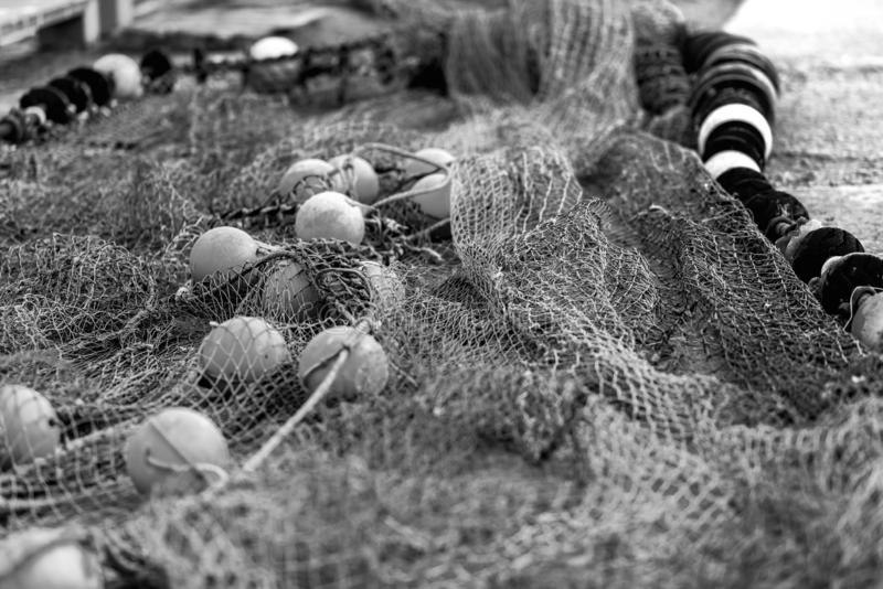 Fishing net with round floats royalty free stock photos