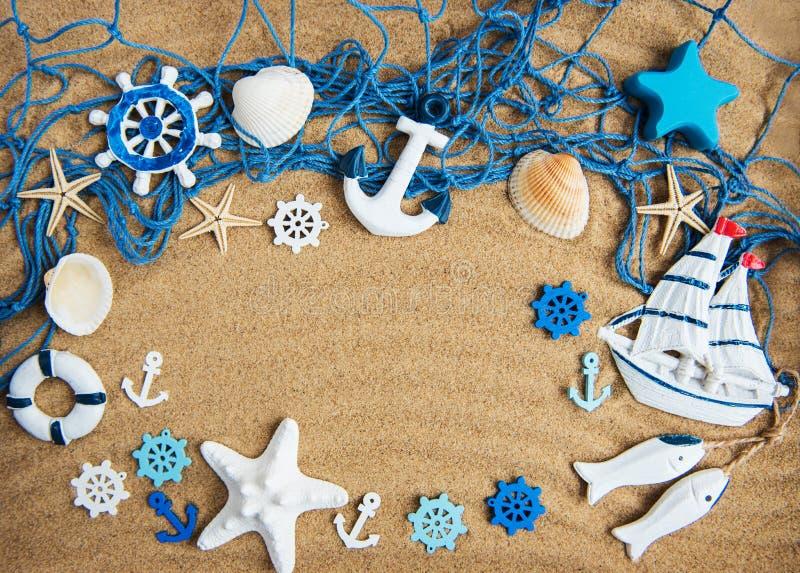 Fishing net with starfish stock photo