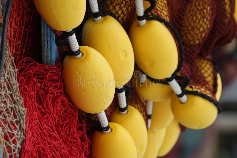 Fishing nets. In fishing village in South of France stock photos