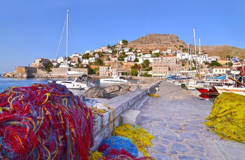 Fishing nets at Hydra port Greece royalty free stock photos