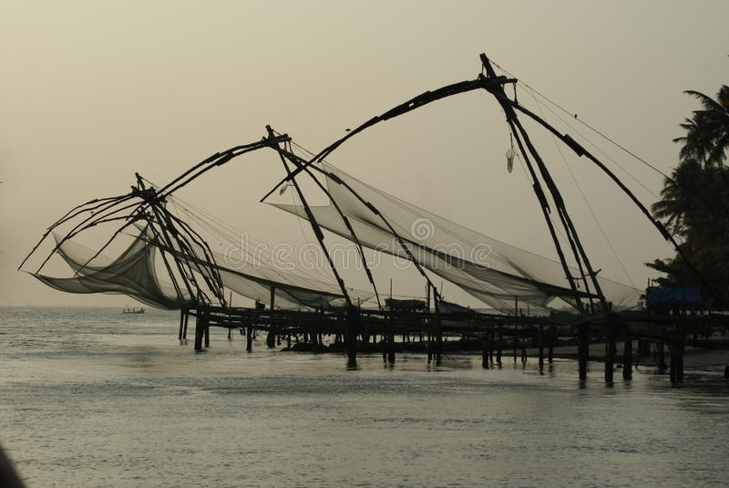 Fishing nets of Kerala India stock photography