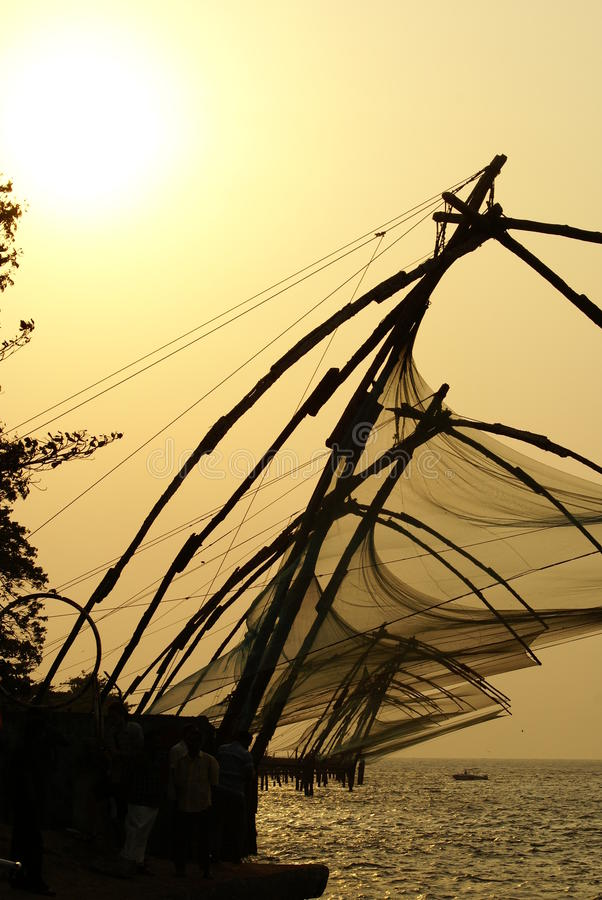 Fishing nets of Kerala India stock photos