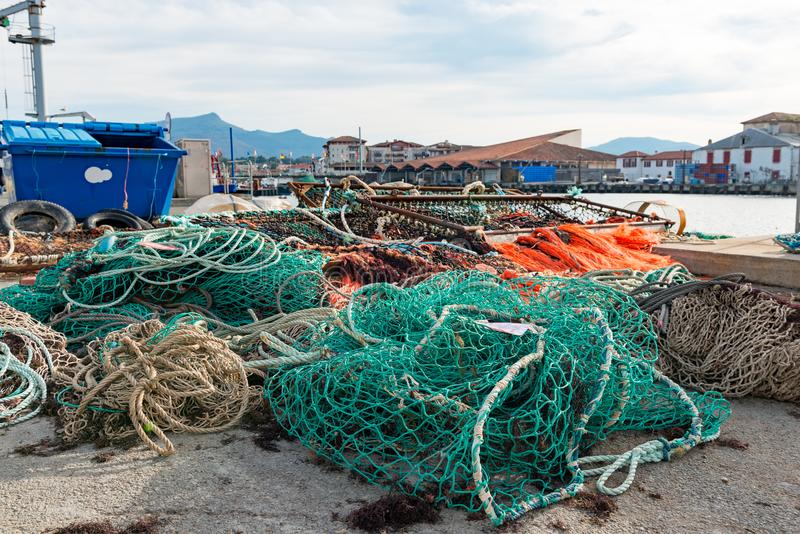 Fishing nets on the port of Saint Jean de Luz in France royalty free stock photos