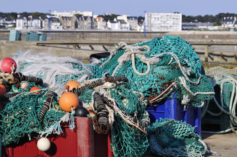 Fishing nets at Quiberon in France stock images