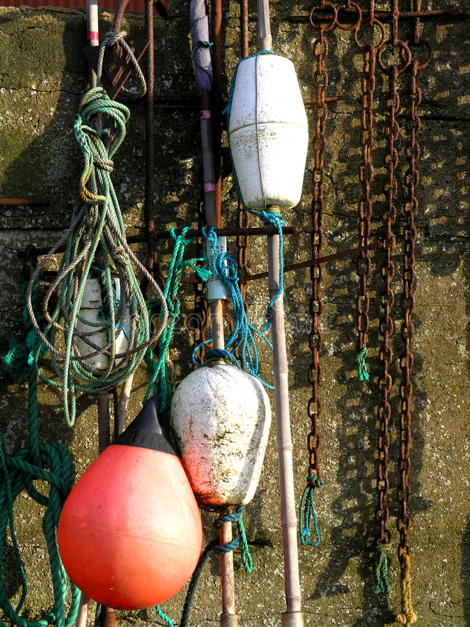 Fishing nets and tools royalty free stock photos