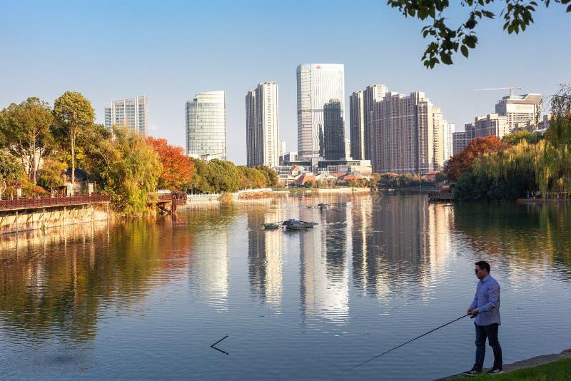 A man fishing by the lake, China royalty free stock photos