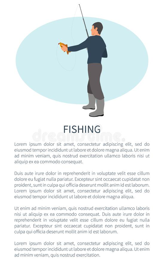 Fishing Outdoor Activity Fisher and Catch Flyer. Fishing outdoor activity brochure with fisher and text sample. Rodman in profile with tackle or spinning hilding stock illustration