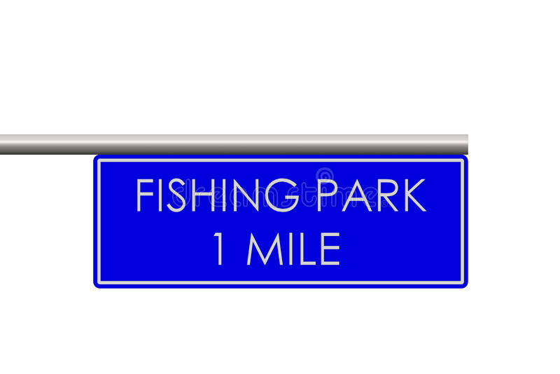 Fishing park label on the way royalty free stock photography