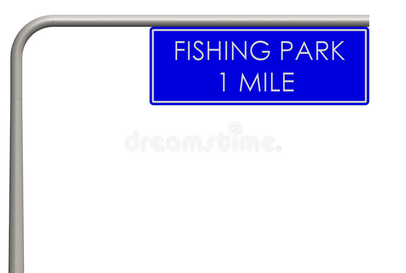 Fishing park label on the way royalty free stock image