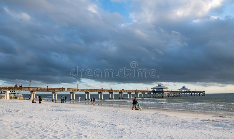 The Fishing Pier at Fort Myers Beach Florida just before sunset stock image