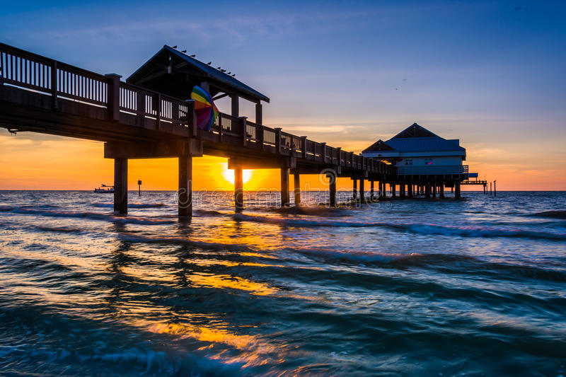 Fishing pier in the Gulf of Mexico at sunset, Clearwater Beach,. Florida stock photo