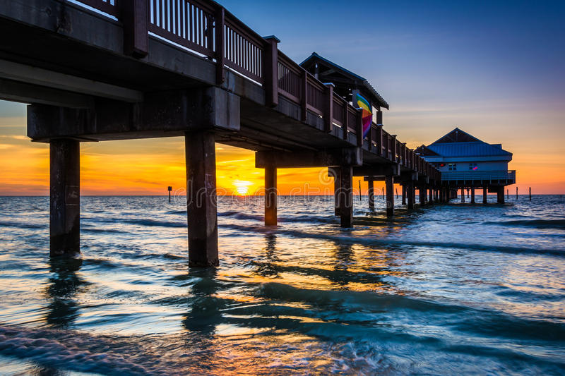 Fishing pier in the Gulf of Mexico at sunset, Clearwater Beach,. Florida stock image