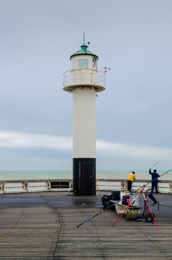 Download Fishing On The Pier Of Nieuwpoort, Belgium Stock Image - Image: 37164567