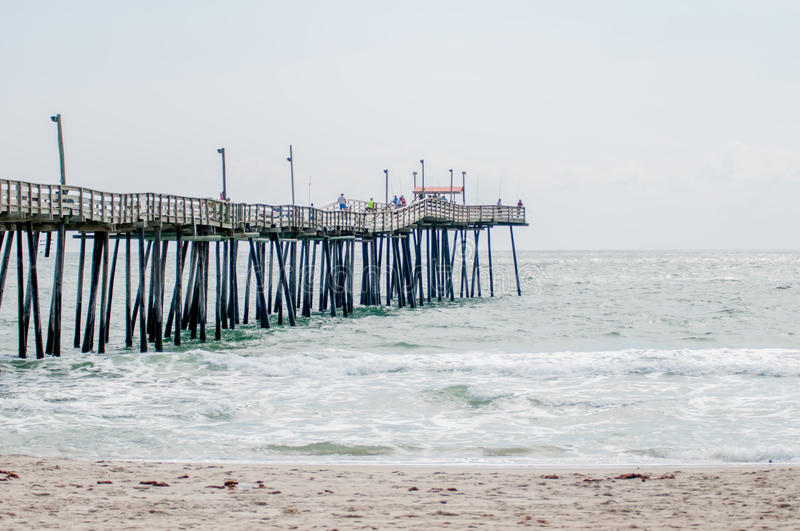 At fishing pier on the outer banks north carolina stock for Carolina beach fishing pier