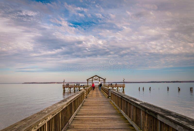 Fishing pier on the Potomac River in Leesylvania State Park, Virginia. stock photos