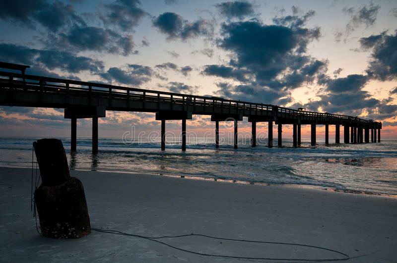 Fishing pier at St. Augustine. Sunrise at St. Augustine fishing pier in Florida stock photography