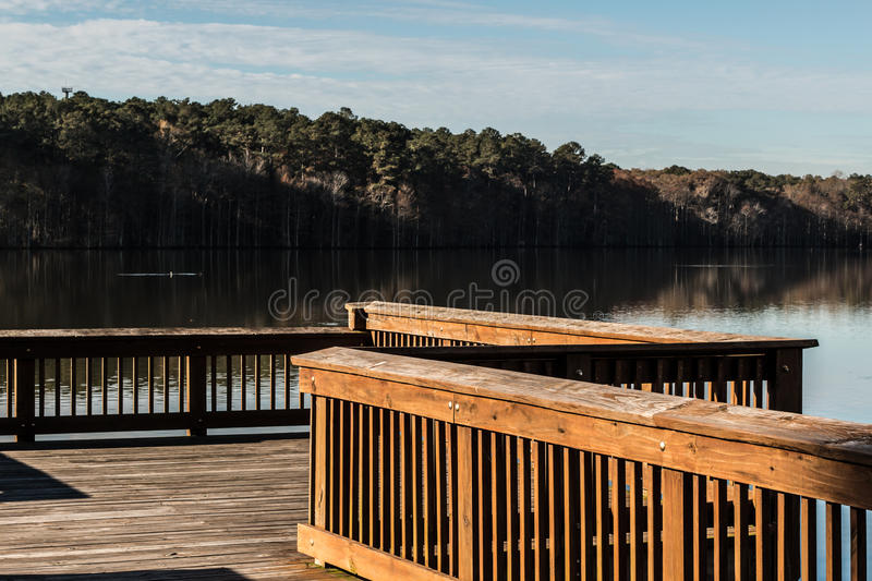 Fishing Pier with View of Lake at Stumpy Lake royalty free stock photo