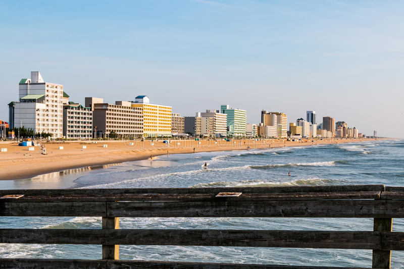 Fishing Pier View of the Virginia Beach Oceanfront royalty free stock image