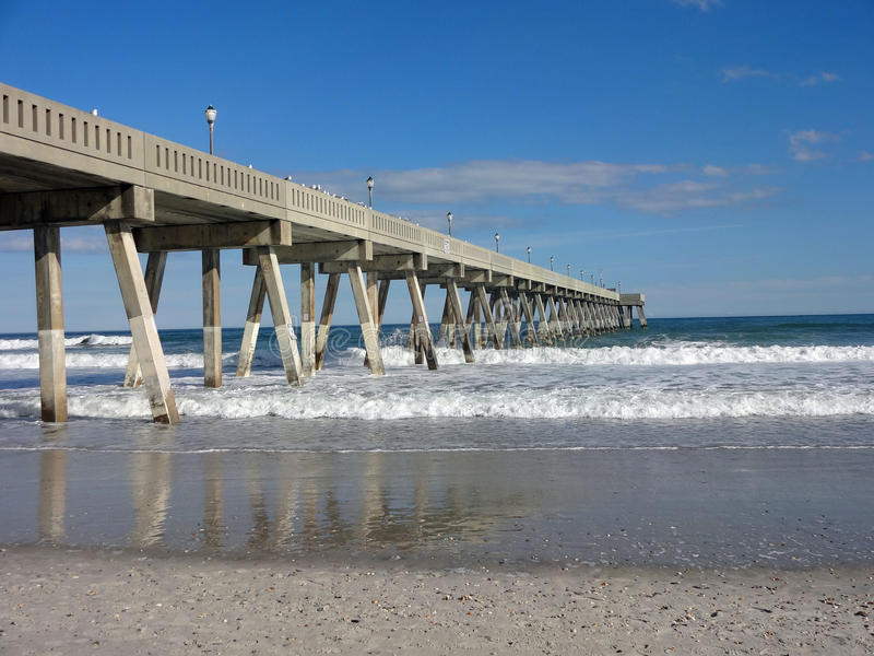 Fishing Pier on Wrightsville Beach, North Carolina. Fishing Pier against a blue sky on Wrightsville Beach, NC royalty free stock photos