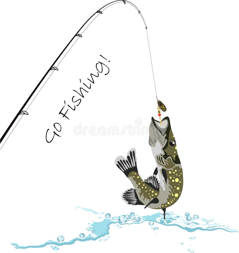 Fishing, pike, fishing rod and lure, vector illustration. Fishing, pike, fishing rod and lure, go fishing, vector illustration royalty free illustration