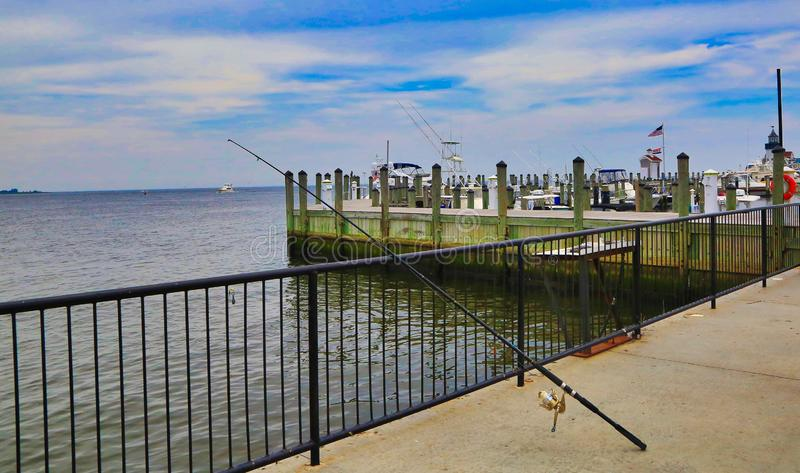 Fishing dock Saybrook Point Connecticut stock images