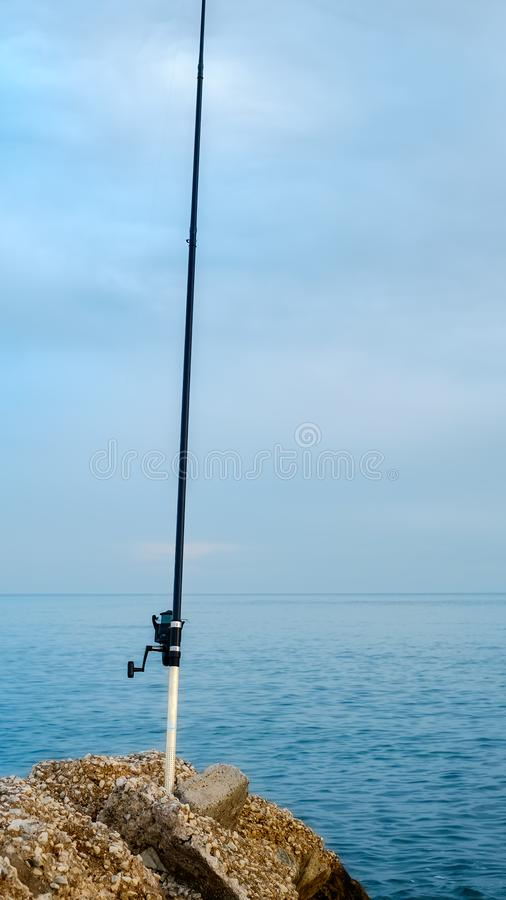 Fishing pole on sea. Close view royalty free stock images